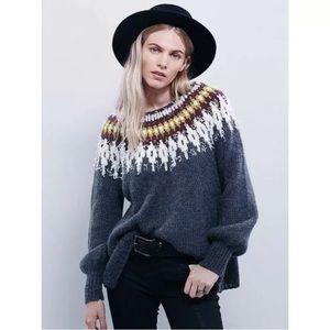 Free People Baltic Fairisle Boatneck Knit Sweater